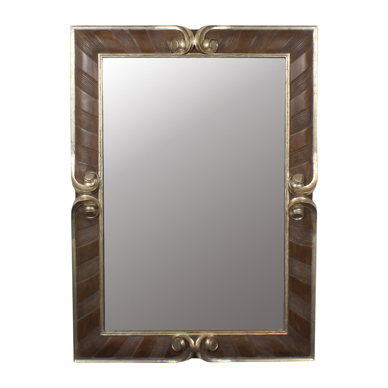 Carved and Silver Gilt Rectangular Mirror