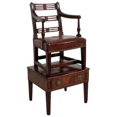 Georgian Childs High Chair in Mahogany with Stand