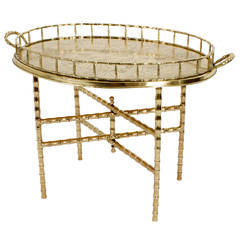 Faux Bamboo Brass Tray Table with Folding Base.