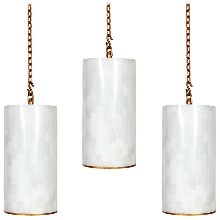 3 Custom Gilt Iron And Marble Pendant Lights Sold