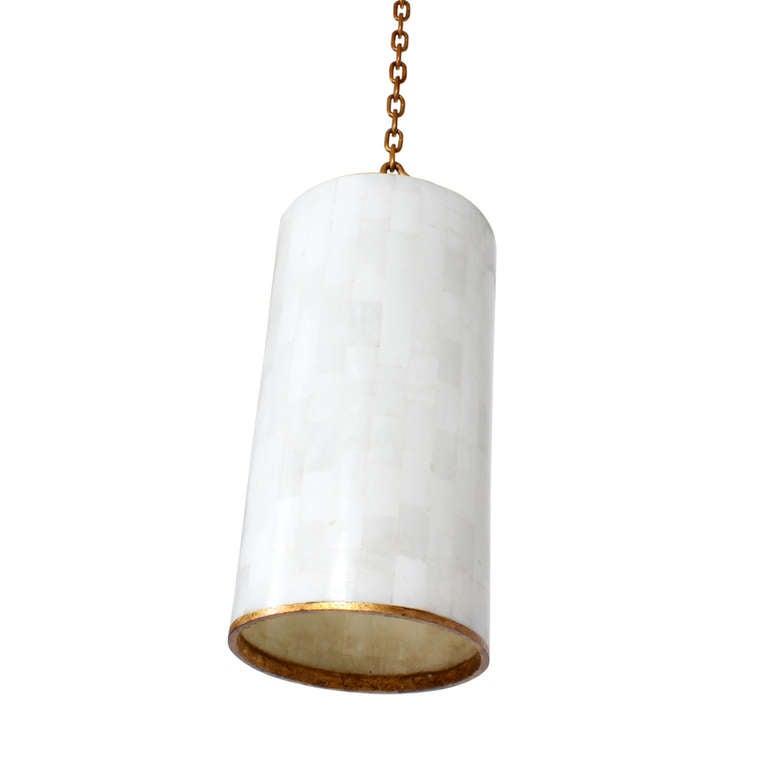3 Custom Gilt Iron And Marble Pendant Lights Sold