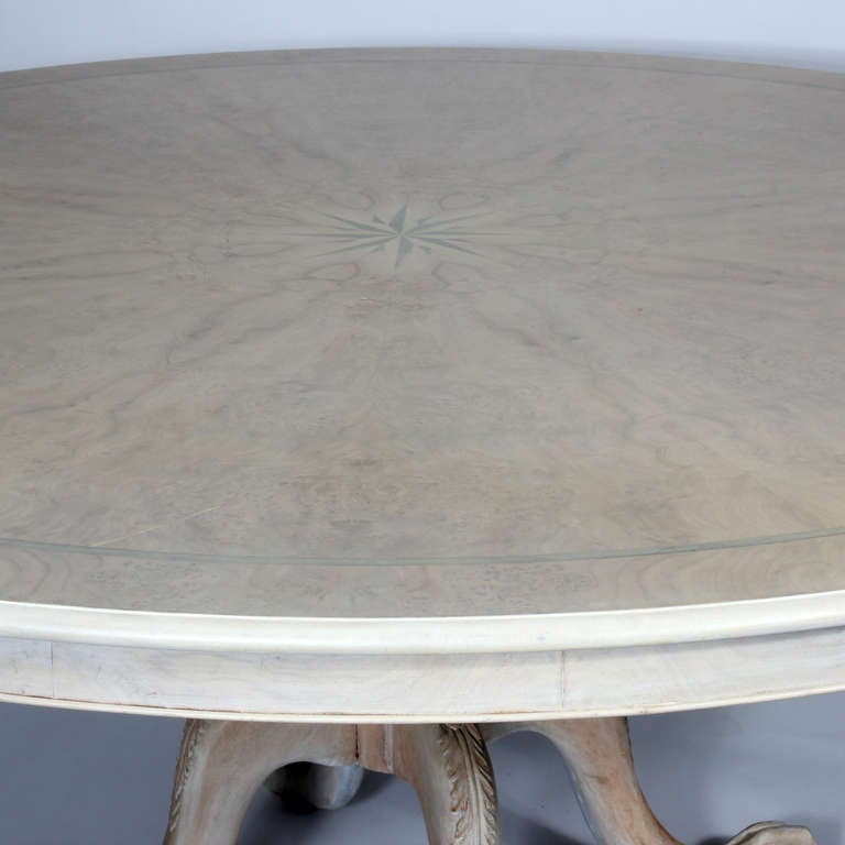 Large Stained White Round Dining Table For Sale at 1stdibs