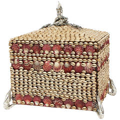Large Seashell Encrusted Box with Slivered Crustacean Accents