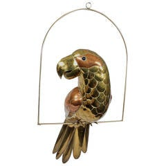 Mid Century Parrot Sculpture on a Swing