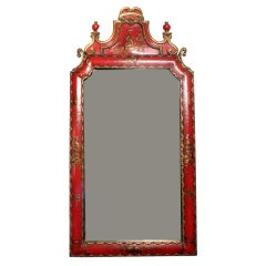 Painted Red Chinoiserie Style Mirror