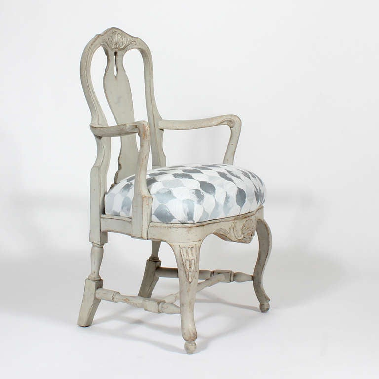 Set of 6 painted swedish rococo style dining chairs for for Swedish style dining chairs
