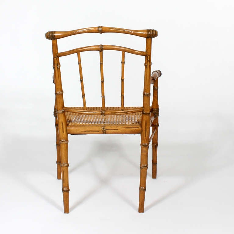 Set Of Eight Carved Faux Bamboo Dining Chairs With Back