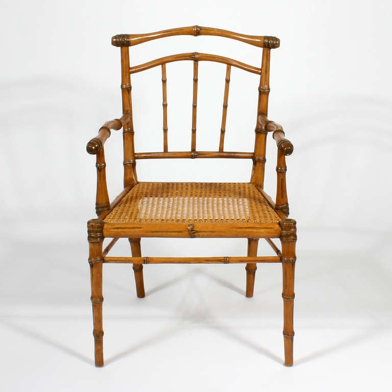Set Of Eight Carved Faux Bamboo Dining Chairs With Back And Seat Cushions For
