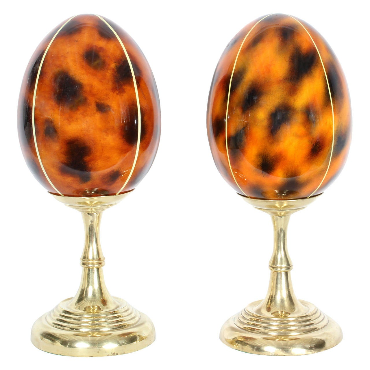 Pair of Faux Tortoiseshell Eggs on Turned Brass Stands