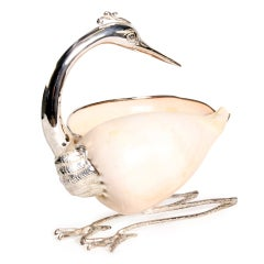 Voluta Shell Mounted as a Bird with Silver Plated Details