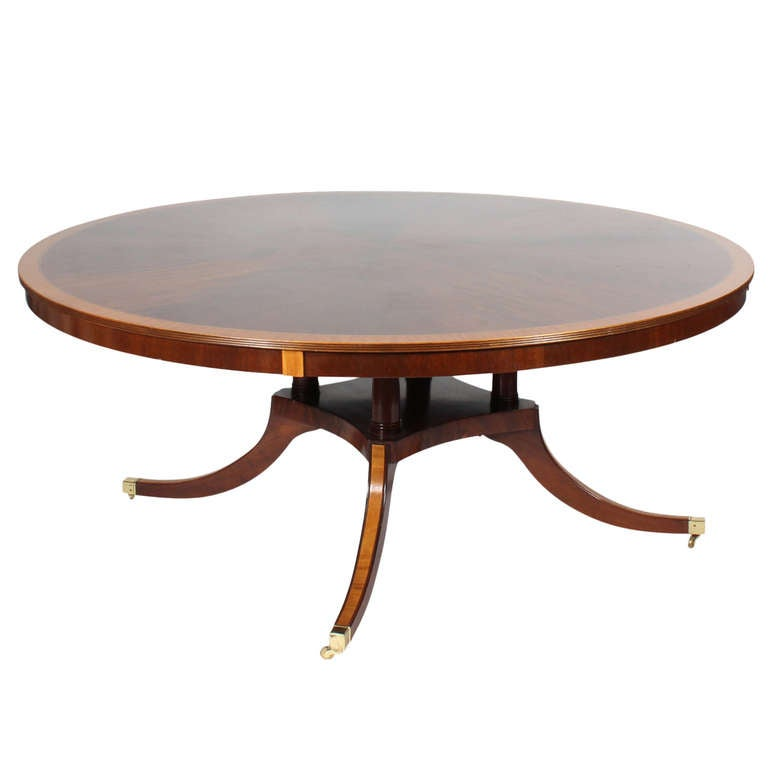 Custom round inlaid mahogany banded dining table at 1stdibs for Unique round kitchen tables