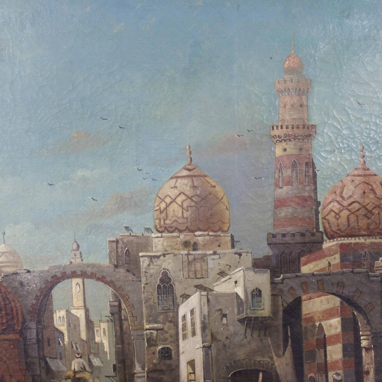 Moorish 19th Century Orientalist Oil on Canvas Painting  For Sale