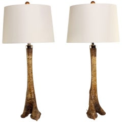 Pair of Ostrich Leg Lamps with Silvered Accents