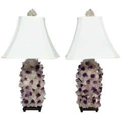 Pair of Arthur Court Rock Crystal and Amethyst Lamps