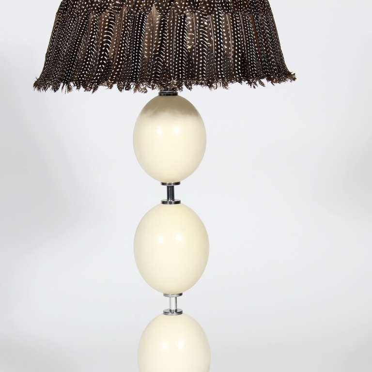 Pair Of Ostrich Egg And Feather Shade Lamps For Sale At