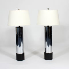 Pair of Modern Cylinder Lamps with Leather Bases