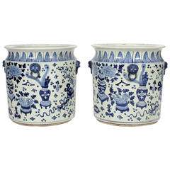 Pair of Large Chinese Export Style Blue and White Jardinieres or Planters