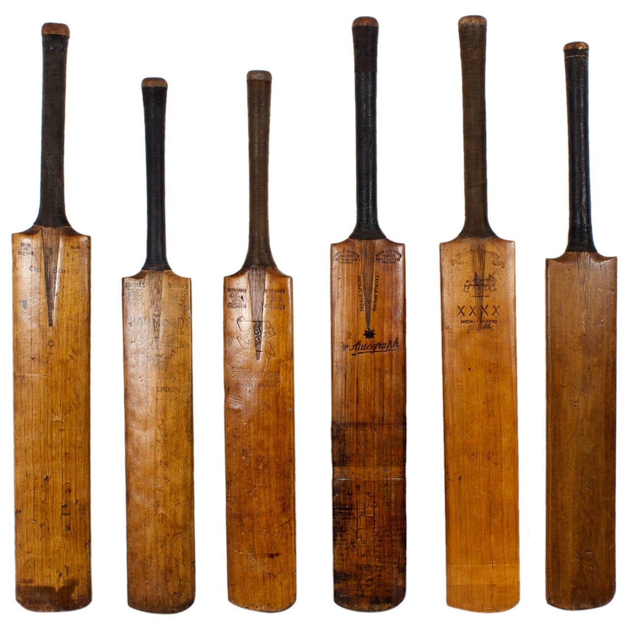 Collection of Fvie Cricket Bats, Great Color and Patina