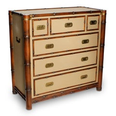 Ralph Lauren Upholstered Bamboo Campaign Style Chest