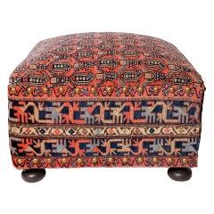 Oriental Rug Ottoman, Hassock or Footstool