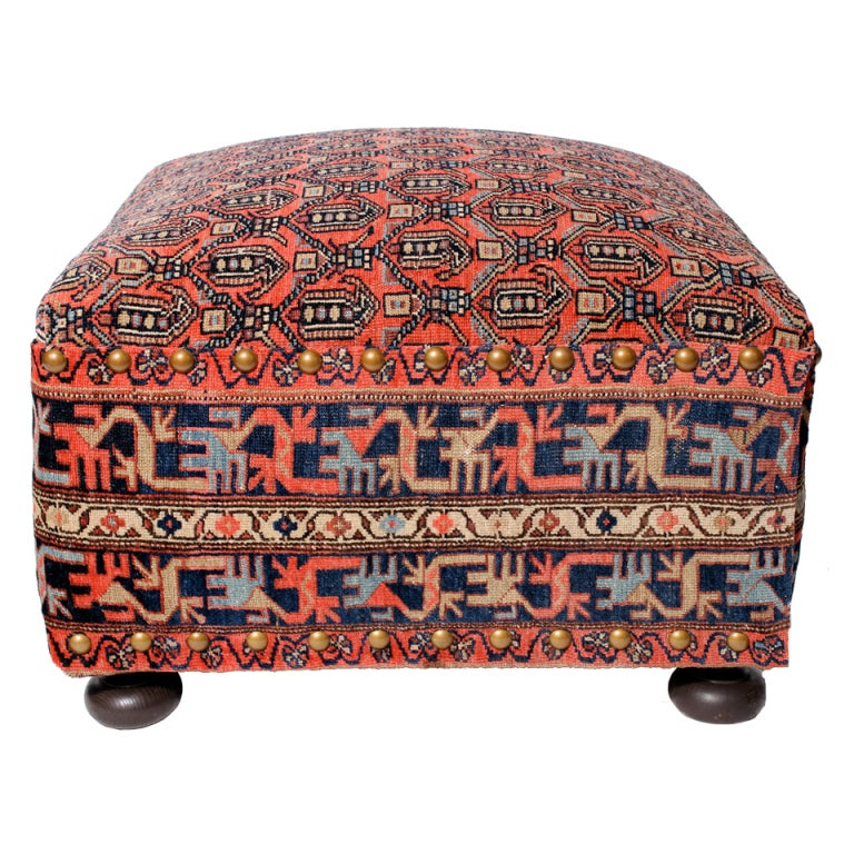 Chinese Rug Dealers: Oriental Rug Covered Ottoman, Hassock Or Footstool For