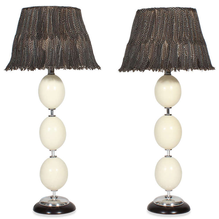Pair Of Ostrich Egg And Feather Shade Lamps At 1stdibs