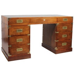 Campaign Style Leather Top Mahogany Desk