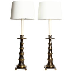 Pair of Patinated Brass Faux Bamboo Table Lamps