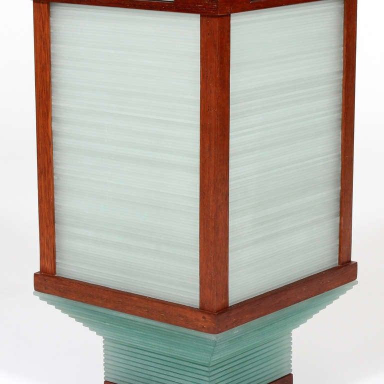 Pair of very modern stacked glass and teak lamps at 1stdibs for Very modern lighting