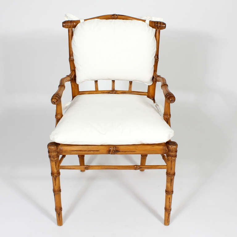 bamboo dining chairs with back and seat cushions for sale at 1stdibs