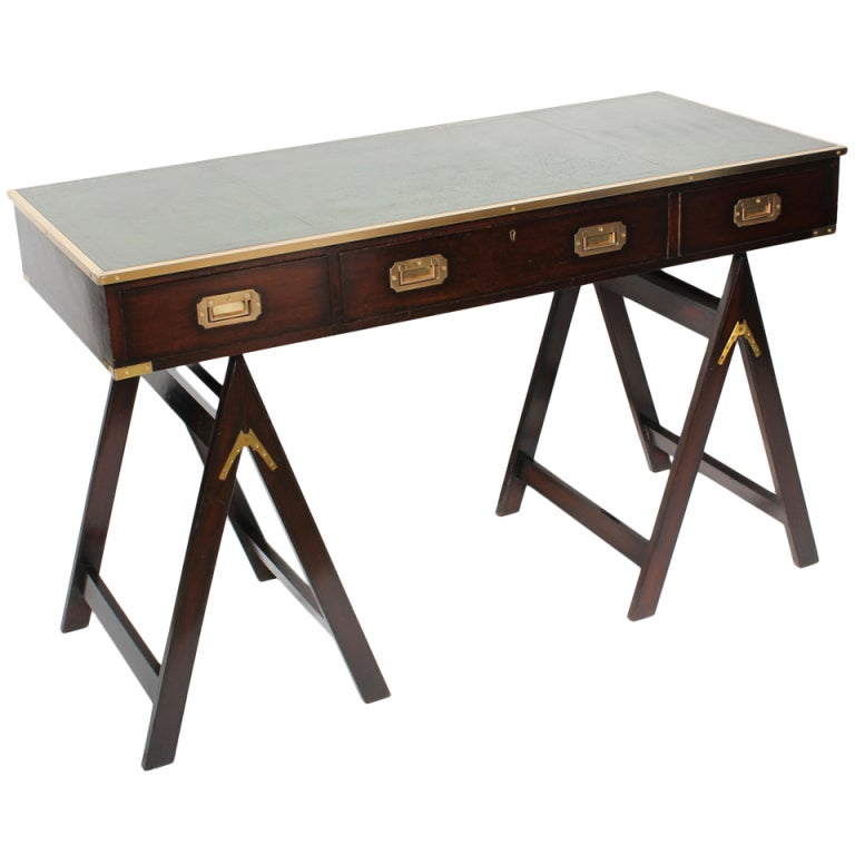 Campaign style desk on sawhorse legs at 1stdibs Sawhorse desk legs