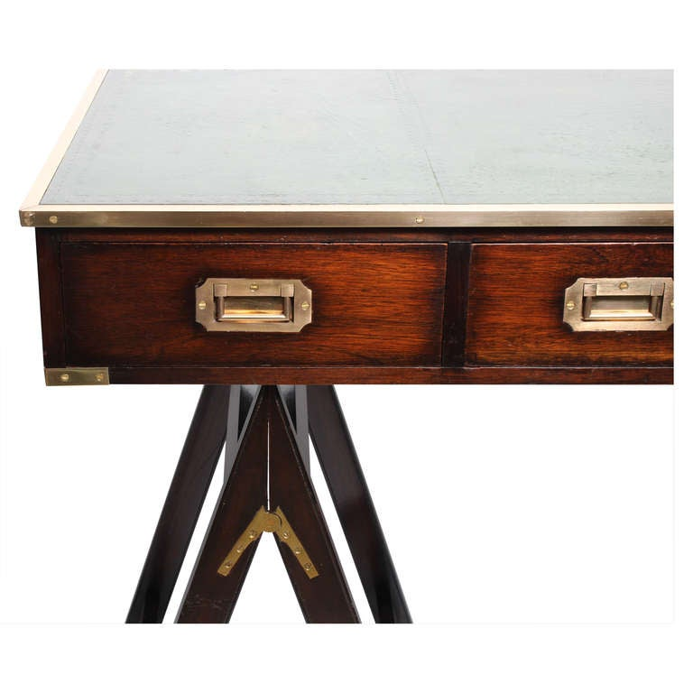 Wonderful Campaign Style Desk On Sawhorse Legs: Desirable Leather Top 3