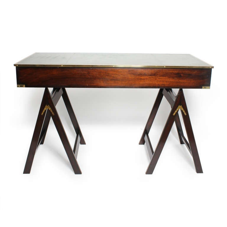 Campaign style desk on sawhorse legs desirable leather Sawhorse desk legs