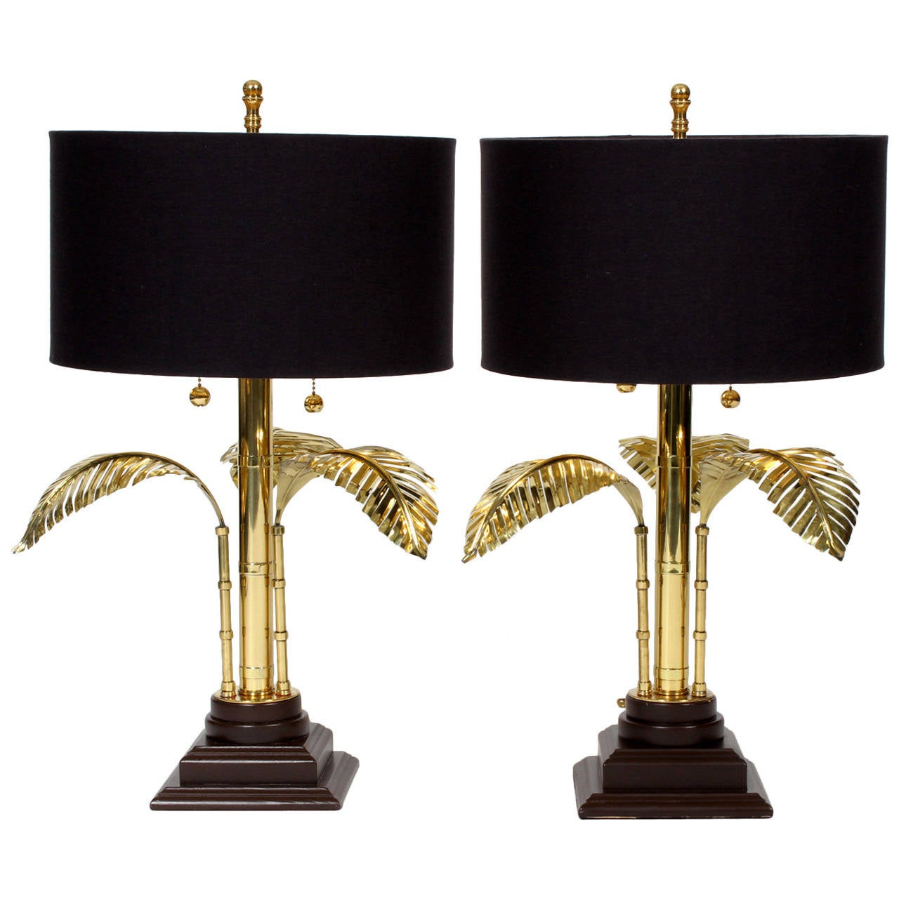 pair of stylized brass palm tree table lamps is no longer available. Black Bedroom Furniture Sets. Home Design Ideas