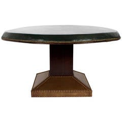 Large Round Leather Top Games Table with Drink Slides