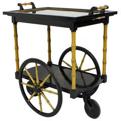 Chinoiserie Style Lacquered and Faux Bamboo Tea or Bar Cart