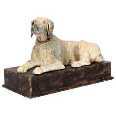 Large Carved and Painted Dog on a Plinth Base