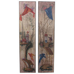 Pair of 19th Century Chinoiserie Painted Wallpaper Panels