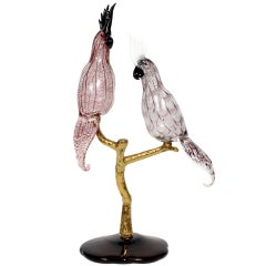 Glass Murano Style Parrots by Zanetti on Stand
