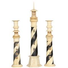 19th Century Anglo-Indian Lighthouse Centerpiece with Lighthouse Candle Holders