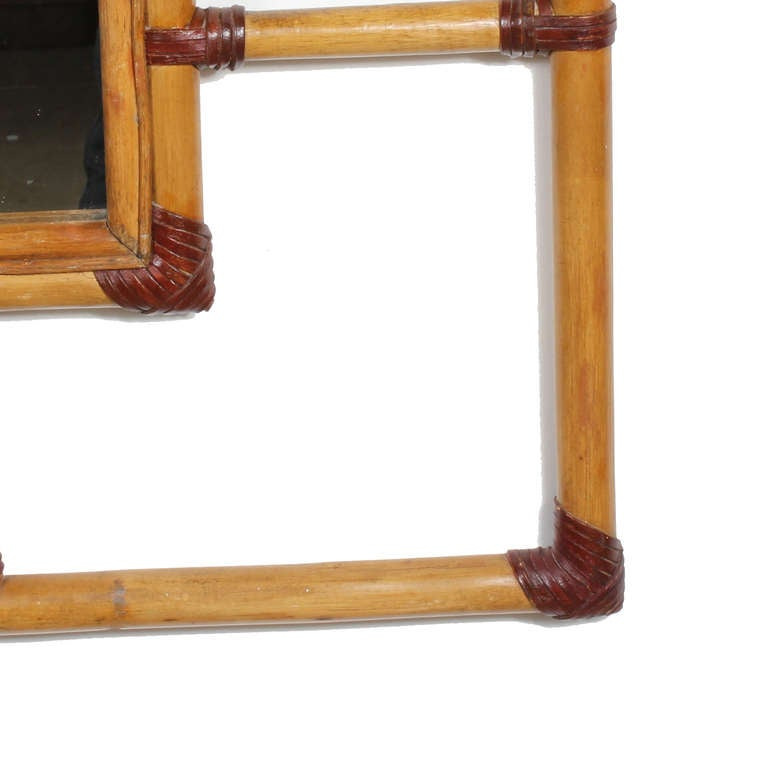 Huge Rattan Mirror In Excellent Condition For Sale In Palm Beach, FL