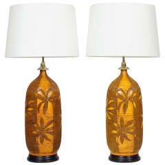 Pair of Retro Mid-Century Modern Etched Palm Tree Pottery Lamps