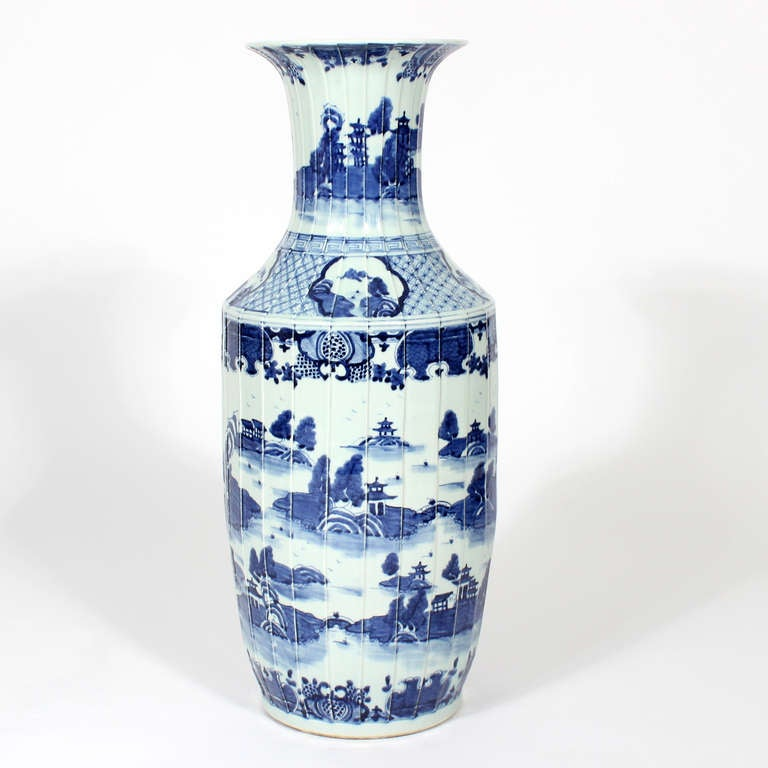 Pair Of Large Chinese Export Style Standing Floor Vases At