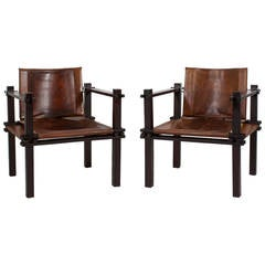 Pair of Fantastic Rosewood and Leather Sling or Safari Chairs