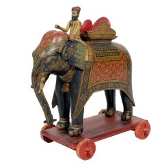 Large Painted Elephant and Rider on Wheeled Base
