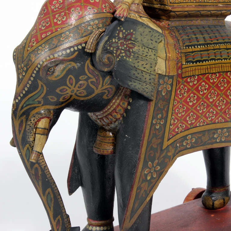 Anglo-Indian Large Painted Elephant and Rider on Wheeled Base For Sale