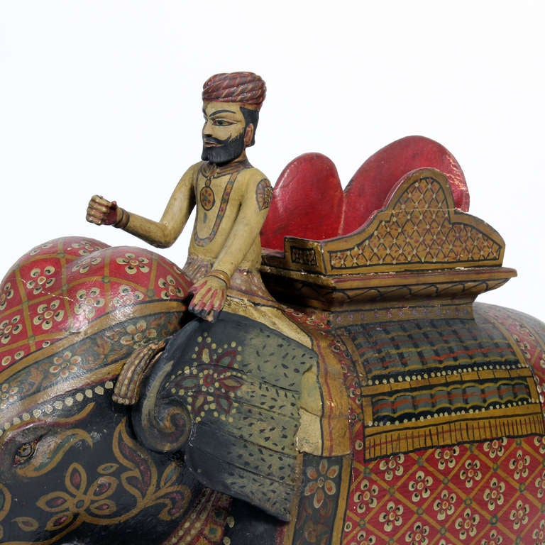 Indian Large Painted Elephant and Rider on Wheeled Base For Sale