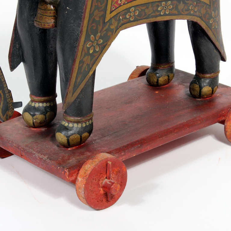 Large Painted Elephant and Rider on Wheeled Base In Good Condition For Sale In Palm Beach, FL