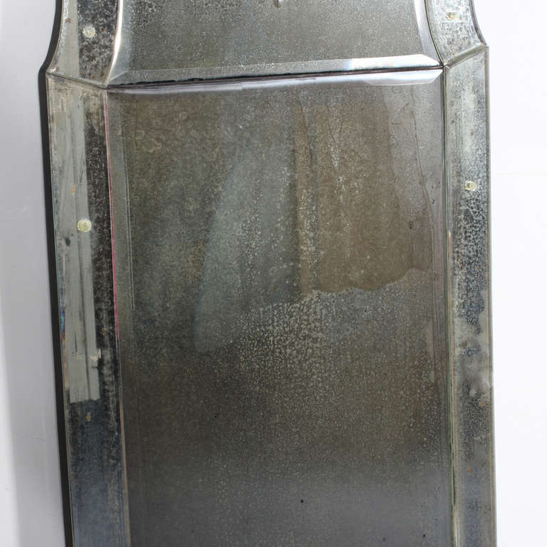 Tall and stately venetian etched glass mirror at 1stdibs for Tall glass mirror