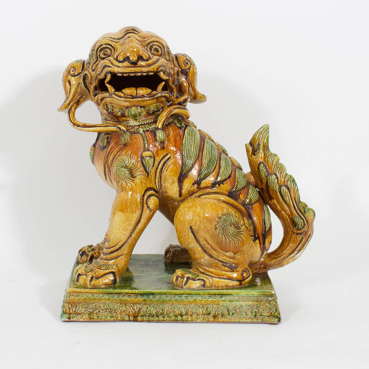 Chinoiserie Large Pair of Majolica Foo Dogs For Sale